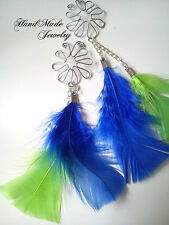 2 x HandMade Sexy Flower Feather Nipple Ring Jewelry Body clip on  Non Piercing