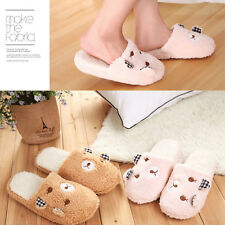 1 Pair Lovely Womens Girls Cute Bear Soft Plush Warm Shoes Home Indoor Slippers