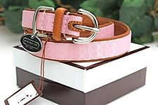 NEW COACH PINK BLUSH SIGNATURE EXTRA SMALL SMALL DOG LEATHER COLLAR XS S Saddle