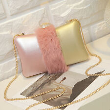 Luxury Women Evening Wedding Party Bag Purse with Bunny Hair Handbag for Ladies