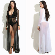 Women Ladies Sexy Clubwear See Through Mesh Cover Up Long Maxi Evening Dress