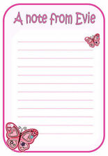 na Personalised NOTELETS writing paper pk 14 & envelopes BUTTERFLY PINK A6 & A5