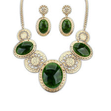 Luxurious Lady Evening Party Charm Pendant Necklace Earrings Women Jewelry Sets