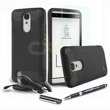 QUANTUM ARMOR SHOCKPROOF HYBRID HARD COVER PHONE CASE FOR LG K8 (2017) +BUNDLE