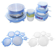 6Pcs Silicone Lids for Food Bowls Cups Cover Food Saver Stretch Lid Wrap