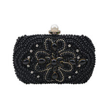 Women Pearl Evening Party Bag Crystal Evening Clutch Bags Purse with Long Chain