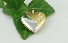 Sassi SL1016 925 Sterling Silver & 18ct Gold Plated Diamond Set Heart Locket