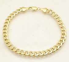 7mm Mens Curb Miami Cuban Link Chain Bracelet Semi-Solid Real 10K Yellow Gold
