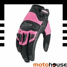 ICON WOMENS TWENTY NINER 29ER MOTORCYCLE TEXTILE VENTED GLOVES PINK S SMALL