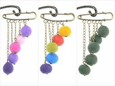 RETRO felt brooch, balls on a chain & vintage safety pin HANDMADE felted jewelry