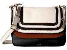 BRAND NEW FOSSIL WOMEN'S PEYTON LARGE DOUBLE FLAP LEATHER CROSSBODY BAG