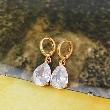 Vintage womens jewelry lucky hoop earrings Teardrop crystal Gold Plated earings