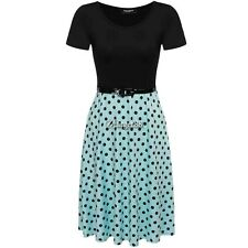 Zeagoo Women Short Sleeve O-Neck Polka Dots A-Line Dress With Belt UTAR01