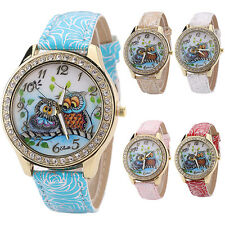 WOMEN FASHION FLOWER PRINT FAUX LEATHER BAND RHINESTONE DIAL WRIST WATCH LOVELY