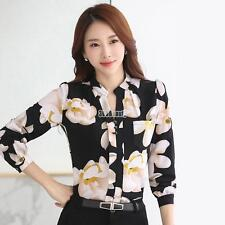 Women Long Sleeve Stand Neck Chiffon Floral Print Tops Blouse T Shirt Casual BUT