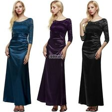 Women 3/4 Sleeve Lace gown Party Wedding Cocktail Party Evening full Dress B5UT