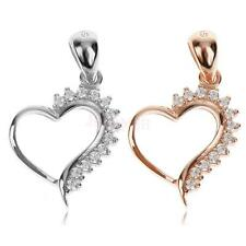 Crystal Rhinestone Silver/Gold Plated Love Heart Pendant Fit Necklace