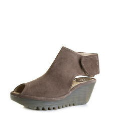 Womens Fly London Yone Taupe Suede Leather Wedge Heels Sandals Size