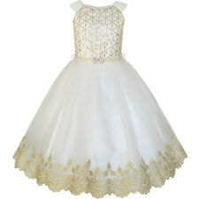 Flower Girls Dress Champagne Sequin Pearl Wedding Pageant Size 6-12 Formal Party