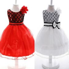 Toddler Kid Baby Girl Bow Flower Princess Dress Pageant Party Tutu Dress 2-10Y