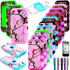 DELUXE 3PIECE ZEBRA HARD PROTECT CASE COVER SKIN FOR IPOD TOUCH 4 4TH GEN+STYLUS