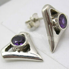 925 Silver Triangular Studs Earrings AMETHYST, BLUE TOPAZ & PERIDOT Variations