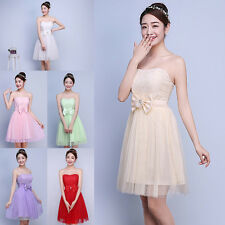 Wedding Formal Short Prom Cocktail Evening Party Bridesmaid Dress Strapless Gown