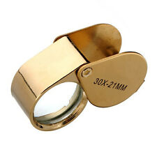 Hot Golden 30X21mm Jewelers Eye Loupe Magnifier Magnifying glass Lens With Case