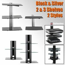 2/3Tier Floating Glass Shelves For DVD SKY BOX With TV Wall Mount Bracket Stand