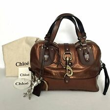 "Chloe Bronze Metallic Brown Leather Trim ""Kerala"" Bag - Brass Lock & Hores Charm"