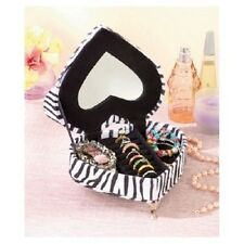 Animal Print Jewelry Box Heart Shaped Cushy Couch Rings Bracelet Necklaces Plush