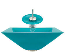 Polaris Sinks P306-TQ-WF Turquoise Colored Square Glass Vessel Sink and Faucet