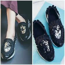 Floral Sparkling Sequin Skate Slip-Ons Black Leather Sneakers Shoes