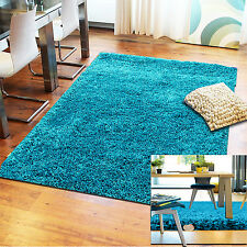 LARGE MODERN THICK TEAL BLUE PLAIN SOFT SHAGGY RUGS NON SHED FLUFFY 5CM PILE MAT