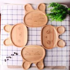 Cute Rabbit Face Serving Tray Beechwood Plate Children Food Divided Container