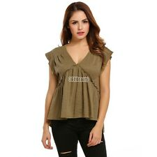 Women Casual Sleeveless V Neck Solid Loose Pleated Hem Pullover Blouse B5UT