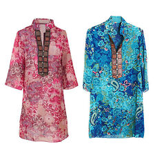 Spring And Summer Women Chiffon Embroidery Print Casual Dress V9B4