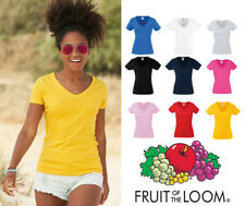 Fruit Of The Loom Lady Fit Valueweight V Neck T Shirt Tee Shirt Summer Gym SS047