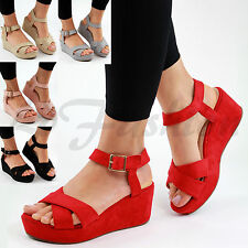 New Womens Platform Mid Wedge Heel Sandals Ankle Strap Peep Toe Comfy Shoes