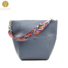 GENUINE LEATHER TOTE BAG WITH RAINBOW STRAP Women Real Cowhide Shopping Handbag