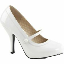 Pleaser PINUP-01 Hidden Platform Mary Jane Pump White Size 9-16 Retro Rockabilly
