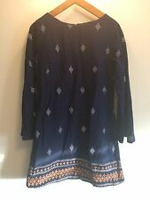 Vintage Handmade Blue White Pattern Paisley Flare Sleeve 60s 70s Dress UK M