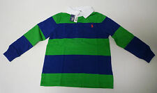 Ralph Lauren Rugby Polo Shirt Top Boys Long Sleeve L/S Green & Blue Striped New