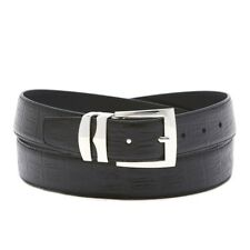 Men's Wide Bonded Leather Belt in Colors HORNBACK Pattern Silver-Tone Buckle