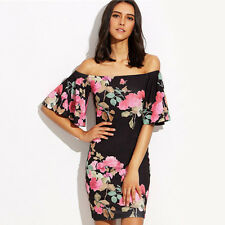 Women Boat Neck Off Shoulder Bodycon Short Dress Floral Bell-Bottomed Sleeve