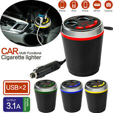 Car Cup Charger Multi-Function Car Power Adapter Dual USB Cigarette Lighter New