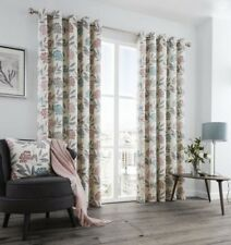 PRINTED FLORAL LEAF PINK GREY CREAM LINED RING TOP CURTAINS 8 SIZES