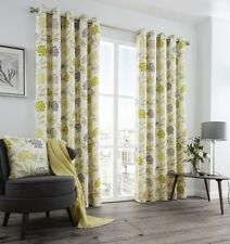 PRINTED FLORAL LEAF GREEN GREY CREAM LINED RING TOP CURTAINS 8 SIZES