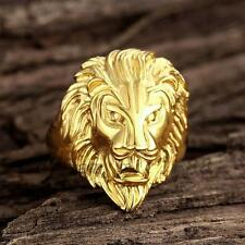 New Retro Lion Head Rings Stainless Steel Gold Plated Size Mens' Ring 8-12