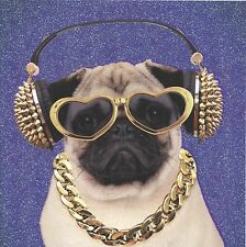 MAGIC'S GLITTERY PUG WITH BLING BIRTHDAY GREETING CARD 1ST P&P